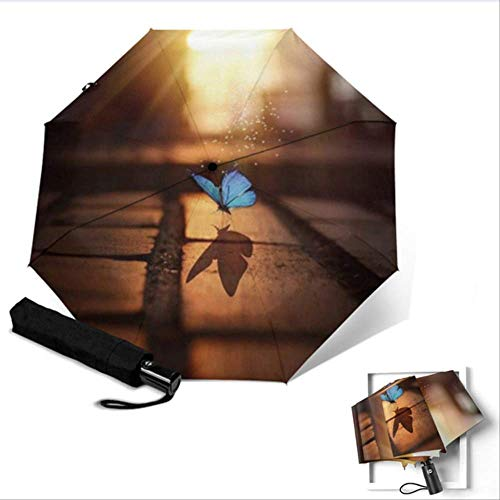 Generic Mode Schmetterling Muster Regenschirm Frau Sonnenschirm mit gefrostetem Griff Pongee Anti-UV Sun Sonnenschirme Automatischer RegenschirmYSA1956