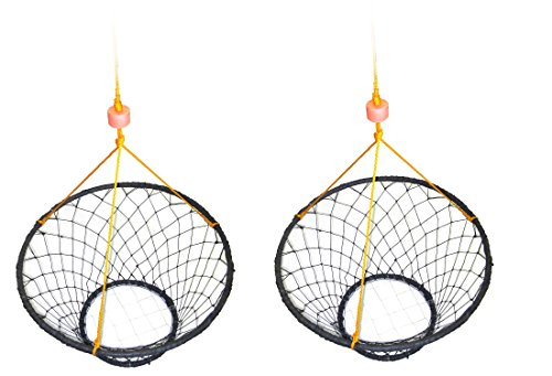 2 Pack of KUFA Sports Vinyl Coated Steel Ring Crab Trap (Size:ø30) with 50' Rope CT90x2