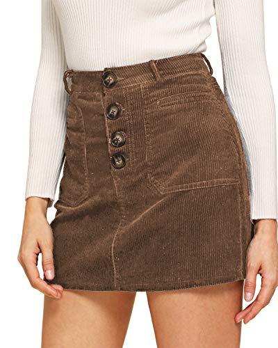VONDA Codzienne spódnice wysoki stan ołówek mini spódnica guzik podstawowa rozkloszowana krótka spódnica z zamkiem błyskawicznym