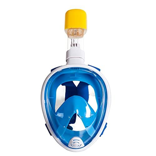 Hyner Máscara de Buceo Gafas Snorkel 180° Panorámica Vista Apoyo Cámara Deportiva Diseño Antivaho para Adultos y Niños Unisex (Azul, XS/S)