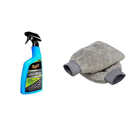 MEGUIAR'S G190526EU Traitement Hydrophobe céramique & Amazon Basics Gant de Lavage Microfibre pour...