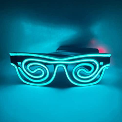 qianduo Gafas de sol con luz en espiral con interruptor de botón que brillan en la oscuridad, para adultos y niños