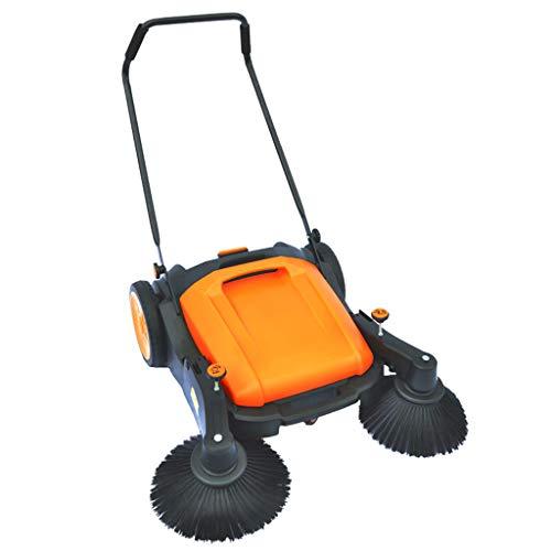 XLOO kehrmaschine, manuelle Kehrmaschine für den Außenbereich mit Zwei Seitenbesen Industrielle Kehrmaschine für die mühelose Reinigung Ihrer Außenbereiche