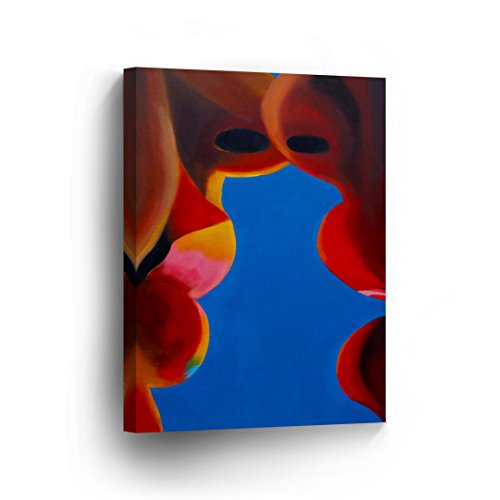 Gay Lesbian Woman Kissing Oil Painting Canvas Print Sexy Wall Art Lips Decorative Red Lips Decor Artwork Wrapped Stretcher Bars Ready to Hang%100 Handmade in The USA - 12x8