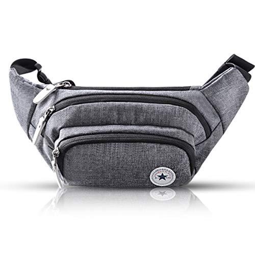 Riñonera Deportiva o cangurera Multifuncional Evaduol; Riñoneras a la Moda de Gran Capacidad; Cinturón Ajustable para Adaptarse a Cualquier Cintura; Gris.