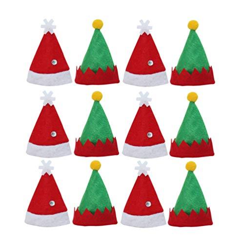 Amosfun 12 Piezas Mini Sombrero de Navidad Gorro de Elfo Sombrero de Piruleta Decoraciones de Mesa Accesorio de...