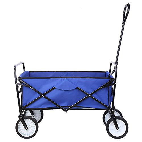 "Collapsible Outdoor Utility Wagon, Heavy Duty Folding Garden Portable Hand Cart, with 8"" Rubber Wheels and Drink Holder, Suit for Shopping and Park Picnic, Beach Trip and Camping (Blue)"
