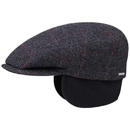 Stetson Kent Ear Flaps Flat Cap Men - Newsboy Cap with Ear Flaps - Flat Cap with Herringbone Pattern - Fall/Winter Ear Warmer Cap - Peaked Cap Anthracite 7 1/4~Large~58~7 1/8