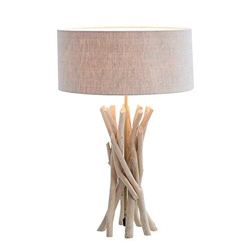 *Design Treibholz Tischleuchte WILD NATURE sand mit hochwertigem Natur-Leinen Schirm Tischlampe*