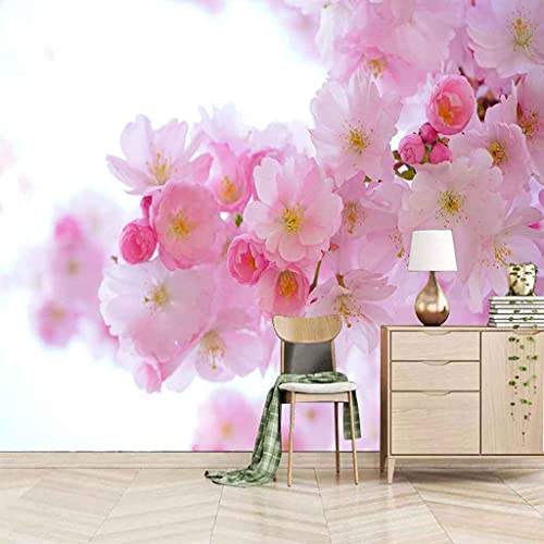 UPFGWJ wallpaper 3D Selbstklebender Wandkunst Segeltuch Wandgemälde Pinke Blumen 350x256 cm Wandbilder Tapeten fototapete Kinder Mädchen Schlafzimmer Büro Shop Kuns