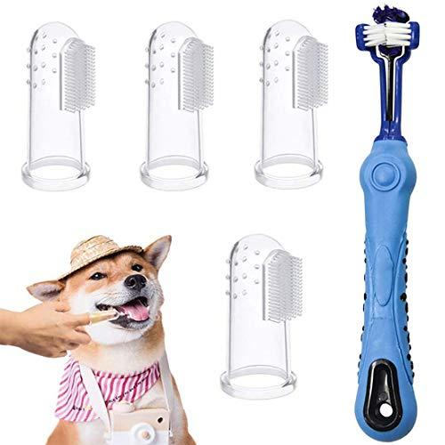 Bigbigjk 5 Pack Hundezahnbürste, Pet Finger Zahnbürste Hund Haustier Zahnreinigung Silikon Hund Zahnreiniger Naturkautschuk Finger Zahnbürsten für die Zahnpflege ür Kleine Hunde und Katze (Blau)