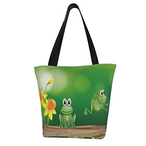 KiuLoam Two Green Frogs Tote Bag Large Women Casual Shoulder Bag Handbag,Reusable Grocery Bags Canvas Shopping Bag for Women Outdoor