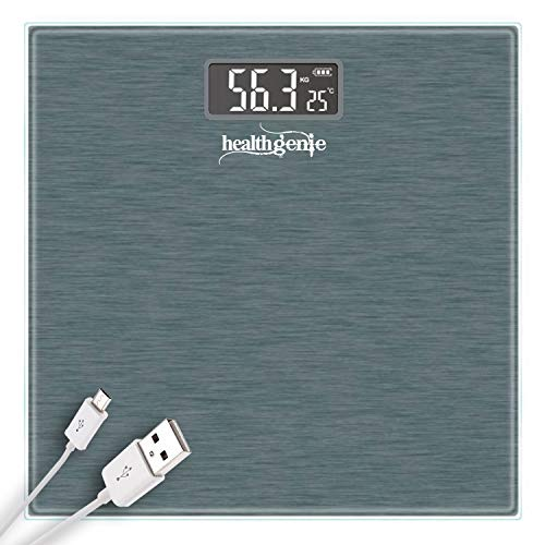 Healthgenie Digital weighing machine for human body weight with Room Temperature Display and USB charging - (Dark Grey)