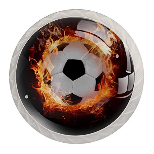 Round Drawer Knobs Soccer Football Fire Dresser Knobs Colorful Door Knobs Decorative Furniture Knobs Crystal Glass Cabinet Knobs 4Pcs 3.5×2.8CM