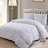 ELNIDO QUEEN Down Comforter with Goose Duck Down and Feather Filling - 100% Cotton Cover - Warmth All Season Duvet Insert - Machine Washable Stand Alone Bed Comforter with Tabs Queen 90×90 Inch