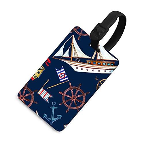 Etiqueta de equipaje suave para mujer, etiquetas identificadoras de bolsa con cubierta de privacidad, accesorios de etiqueta de viaje para maleta, avión, mochilas, patrón náutico de acuarela