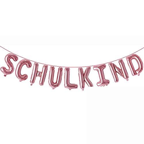 Schulkind Girlande Banner, Rosé Gold Hänge Folien Luftballon Deko für Schuleinführung Einschulung Schulanfang Schulstart Dekoration Schule Für Jungen Mädchen