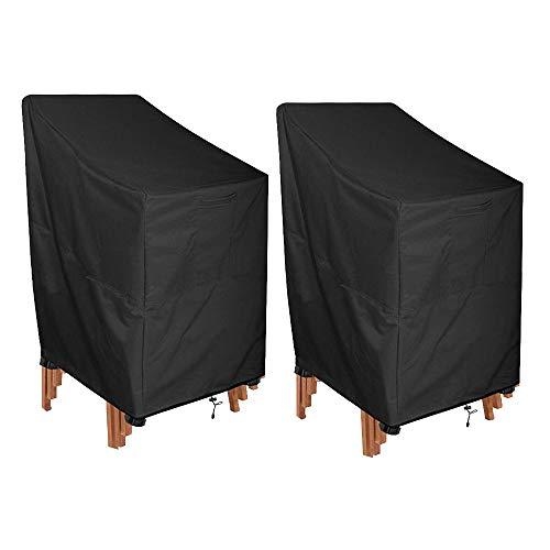 Gartenstühle Abdeckung, 2 Stück Stapelstühle 210D Oxford Gewebe Schutzhülle Wasserdicht, Winddicht, UV-Beständiges für Außenstühle Lagerung Schwarz