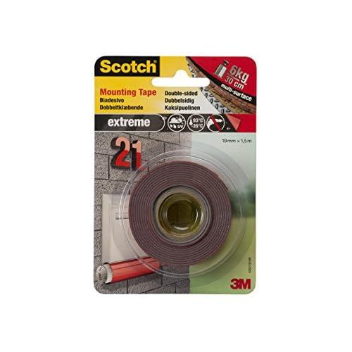 Scotch 20299 Nastro Biadesivo, Extra-Forte, Rosso, 19 mm x 1.5 m