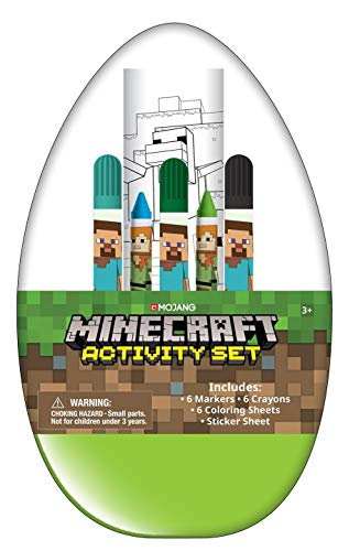 Innovative Designs Kids Activity Egg Craft Kit with Coloring Pages, Stickers, Markers, and Crayons (Minecraft)