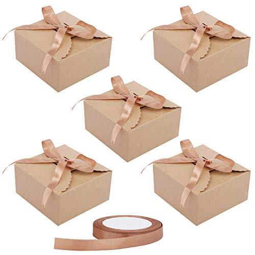 Cajas Cartón Kraft Marrón (50 Piezas) - 12x12x6cm Cajas Regalo Carton con Cinta Raso (5m) para Bodas, Baby Shower, Navidad, Cumpleaños, Despedida de Soltera y Fiestas para Galletas, Joyas, Magdalenas