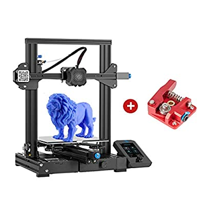 Creality Ender 3 V2 3D Printer & Aluminum Extruder Drive Feeder with Silent Mainboard Meanwell Power Supply Glass Bed and Resume Printing 220x220x250mm for Beginners
