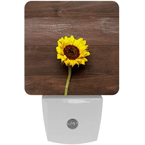 Lámpara LED de noche con diseño de girasol brillante sobre fondo de madera, con sensor de movimiento automático del atardecer al amanecer, apto para dormitorio, baño, escaleras, cocina, pasillo