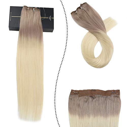 [Rabatte Begrenzen] Haarverlangerung Echthaar mit Unsichtbaren Draht Band Wire in Brazilian Human Hair Aschblond Ombre Platinblond T#18/60 Frauen Haarteil mit Clips 50cm/100G