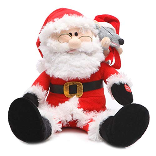 Electric Santa Will Sing Plush Toys for Christmas Singing Moving Snowman Mouse, Home Decor, for New Year (red)
