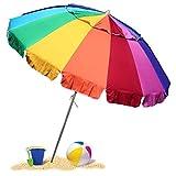Selling Uniqness UNIq 8 Foot Beach/Garden Umbrella with Sand/Ground Anchor Sturdy Pole