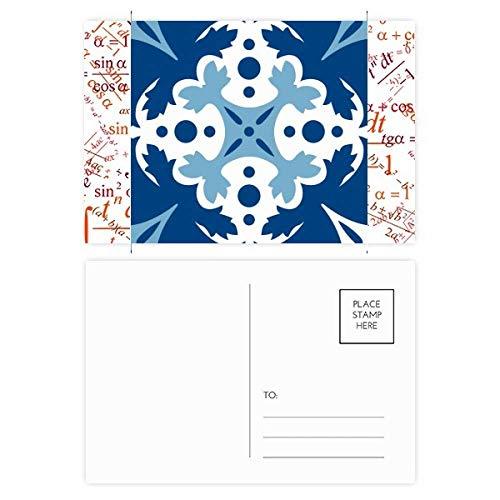 Talavera Deko-Blumen-Ilustrationsformel, Postkarten-Set, Danksagungskarte, Mailing-Seite, Blau, 20 Stück