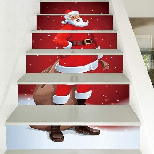 Juego de 6 pegatinas impermeables de PVC para escaleras, muñeco de nieve, Papá Noel, piso, escaleras, decoración de Navidad para el hogar