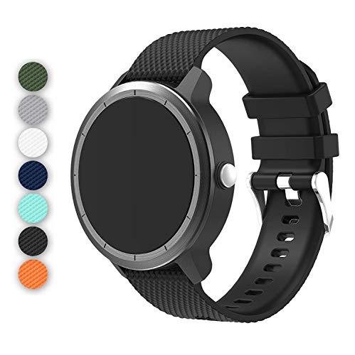 Anrir Vivoactive 3 Watch Band, 20mm Silicone Bands for Garmin Vivoactive 3/Forerunner 645 Music/Samsung Galaxy 42mm/Galaxy Watch 3 41mm/Galaxy Watch Active 2 40mm/44mm-Black
