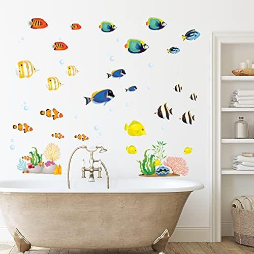 DECOWALL DWT-1811 Peces de arrecife de coral Vinilo Pegatinas Decorativas Adhesiva Pared Dormitorio Saln Guardera Habitaci Infantiles Nios Bebs