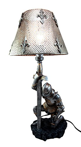 Ebros The Accolade Medieval Kneeling Knight Suit of Armor Knighthood Ceremony Side Table Lamp Figurine 22