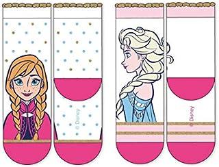 Calcetines para Niña Elsa & Anna | Pack 3 en 1 | 2-9 Años | Blanco Rosa Glitter | Tallas del 23 al 34