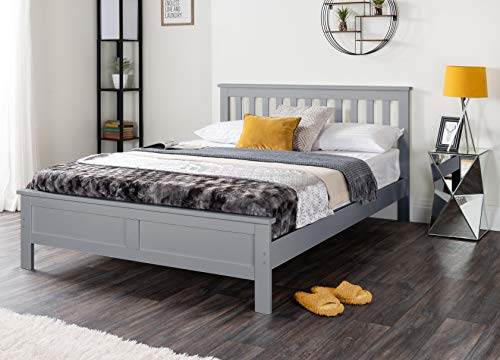 Furniturebox UK Azure Grey Wooden Solid Pine Quality Single Double King Bed Frame (Double Bed Frame Only)