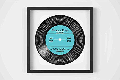 Personalized Record Print Personalized Vinyl Record Song Lyrics Frame Our Song Custom Song Lyrics Framed Print Anniversary Gift for Him