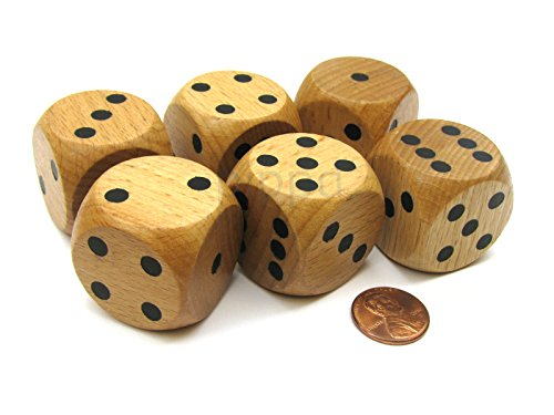 Koplow Games Set of 6 D6 Large Jumbo 30mm Rounded Wood Dice - Wooden with Black Pips