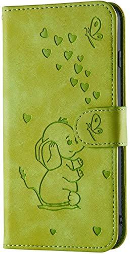 LEMAXELERS Huawei Mate 20 Hülle,Für Huawei Mate 20 Handyhülle Süß Prägung Elefanten herzen Flip Case PU Leder Cover Magnet Schutzhülle Ständer Handytasche für Huawei Mate 20,RT Elephant Green