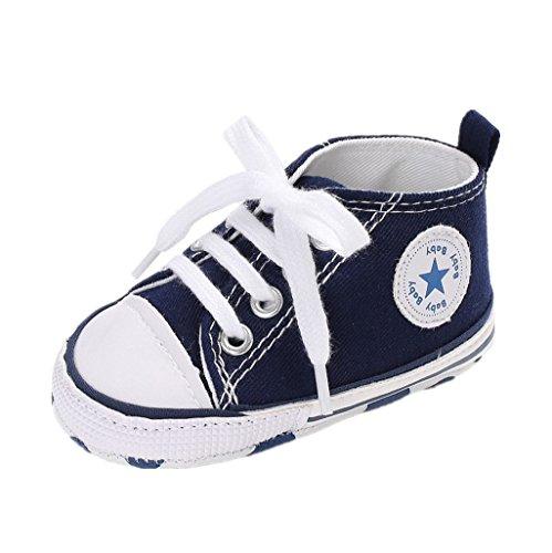Auxma Zapatos Para Bebé La Zapatilla de Deporte Antideslizante del Zapato de Lona de La Zapatilla de Deporte Para 3-6 6-12 12-18 M (6-12 M, Azul)