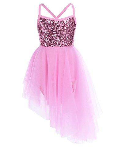 FEESHOW - Vestido de bailarina para bailarina, leotardo de ballet o bailarina para nias, Infantil, color rosa, tamao 8 aos