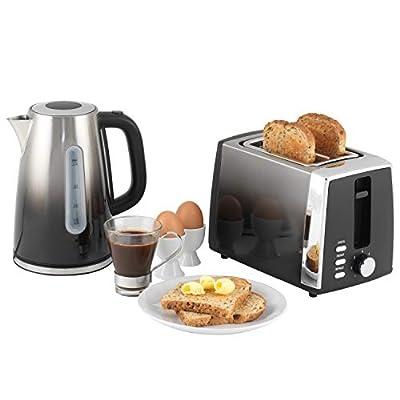 Progress COMBO-5631 Ombre Kettle and 2-Slice Toaster Breakfast Appliance Set, 3000/930 W, Black