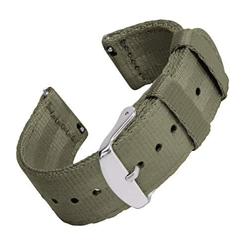 Archer Watch Straps | Cintura di Sicurezza Cinturino di Nylon Ricambio Sgancio Rapido Cinghia Orologio per Donne e Uomini, Orologi e Smartwatch | Verde Oliva, 20mm