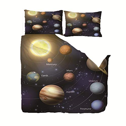 Duvet Cover Set Double (78.7x78.7 inch) Solar system Bedding Printed Ultra Soft Hypoallergenic Microfiber with Zipper Closure + 2 Pillowcases 20x29.5 inch