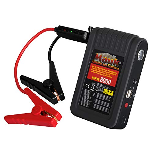 Mauk Powerbank 8000 mAh mit Starthilfe 12V Jumpstart und LED, 2x USB Anschluss, USB-Ladekabel, KFZ- Batterieladegerät