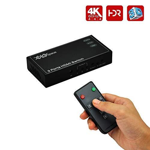 XOLORspace SMARTOOO 23031 HDR 3x1 - Interruptor HDMI compatible con 4k 60HZ 4:4:4 8bit, compatible con HDCP 2.2. Perfectamente compatible con PS 4 PRO, Xbox One S, Roku 3, los televisores Samsung más recientes, Sony y Panasonic