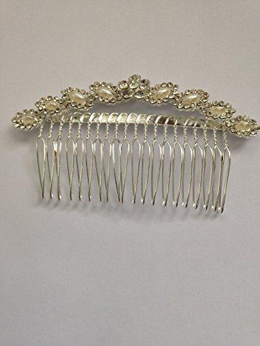 courbé Ivoire Perle et cristal autrichien Peigne à cheveux clip
