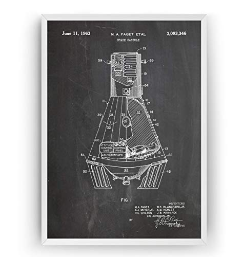 NASA Space Capsule 1963 Patent Poster - Science Gift Astronaut Vintage Blueprint Spaceship Aerospace Wall Art Bedroom Sci-Fi Fan Original Decor Merchandise Rocket - Frame Not Included