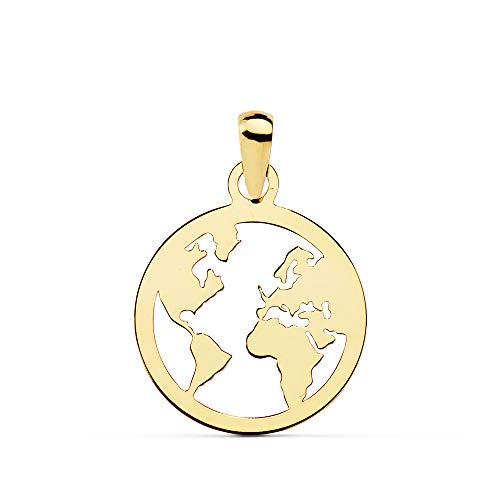Alda Joyeros Colgante Flat World Oro Amarillo 18 Kilates (750) 15 mm Collar Mundo Mapamundi